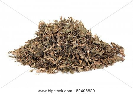 Gentian herb used in herbal medicine selection over white background. Long dan cao.