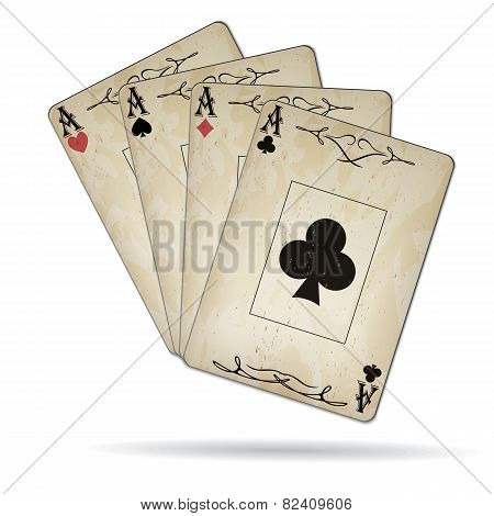 Ace Of Spades, Ace Of Hearts, Ace Of Diamonds, Ace Of Clubs Poker Cards Old Look