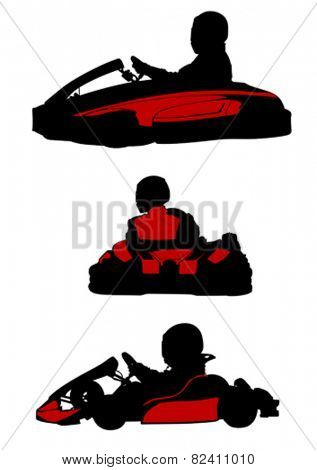 Sillhouette sport cart on white background
