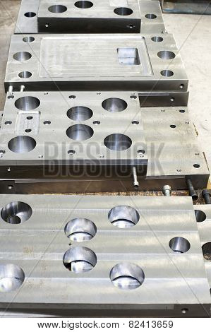 Punch Press Tooling. Steel Detail Of Lathe And Milling Industry.