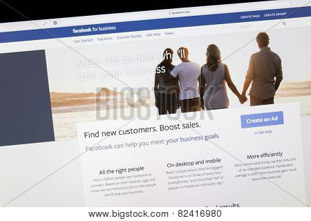Ostersund, Sweden - Feb 5, 2015: Close up of Facebook business page on a computer screen. Facebook is the largest social media network on the web.