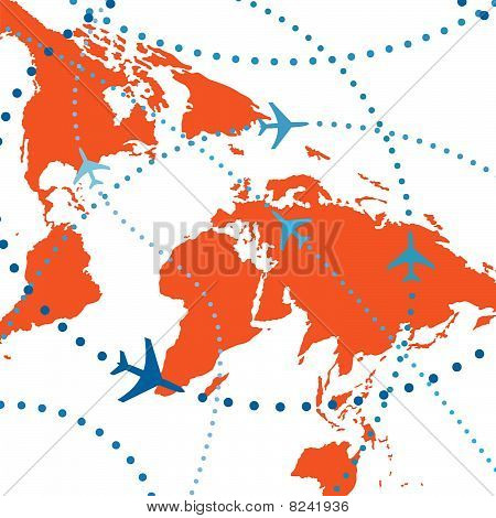poster of World map of airline airplane flight path travel plans.