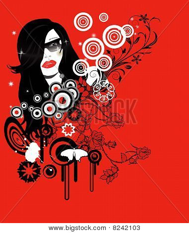 abstract glamour party girl with place for your text