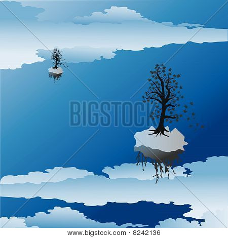 tree silhouette background and birds flying, with place for your text
