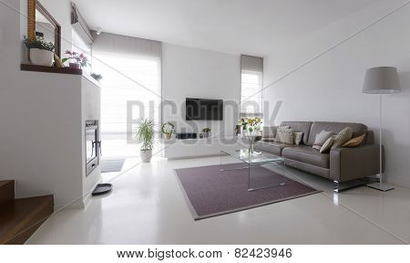 Living Room With Leather Sofa And Glass Table