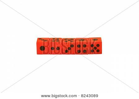 Red Dice In A Line