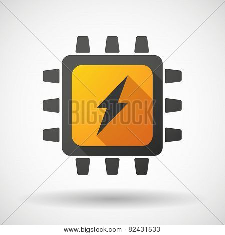 Illustration of a CPU icon with a lightning poster