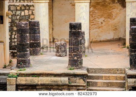 Part Of Ruins Vijaynagara Fort Tanjore Ancient Monument Nayak King 'vijay Raghav'. Madurai, Tamil Na