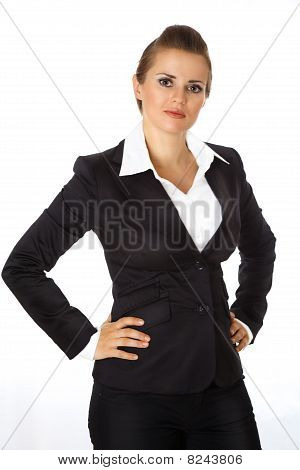 modern business woman with hands on hips