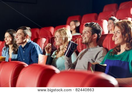 cinema, entertainment and people concept - happy friends watching movie in theater poster