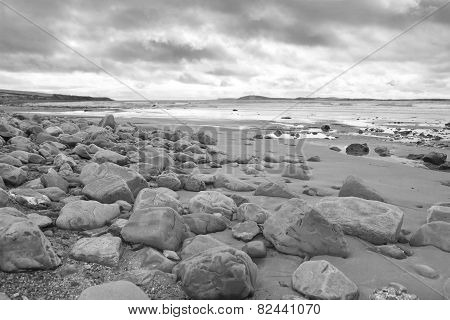 rocky beal beach on the wild atlantic way in county Kerry Ireland in black and white poster