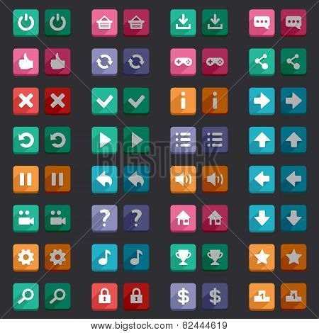 Flat style game icons buttons icons, interface