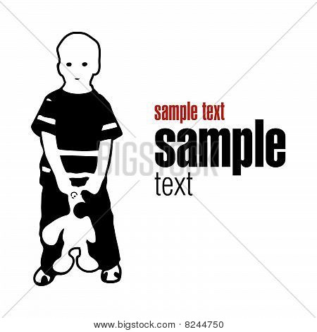vector silhouette boy with toy