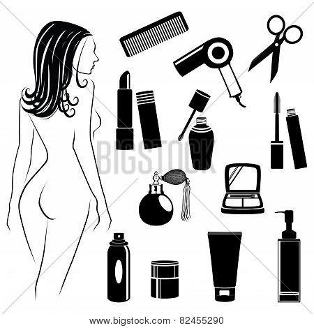 Beauty salon objects vector