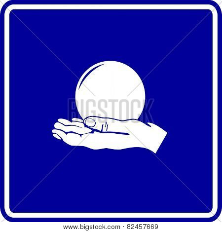 hand holding a crystal ball sign