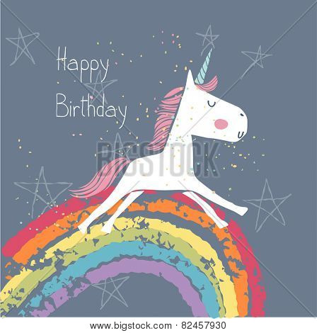 happy birthday card with unicorn