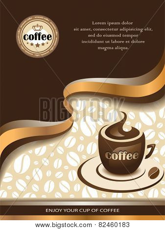 Vector Coffee Background with Shiny Wavy Lines and Cup of Coffee.
