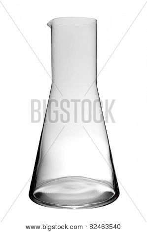 an empty laboratory flask on a white background