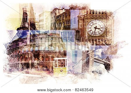multiple exposures of different european landmarks such as the Big Ben in London, the Eiffel Tower in Paris, the Coliseum in Rome, a canal in Venice or a tramcar in Lisbon