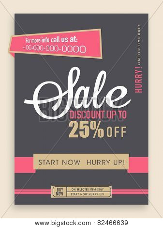Vintage sale flyer, banner or template design with best discount offer.