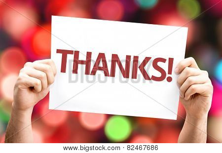 Thanks! card with colorful background with defocused lights