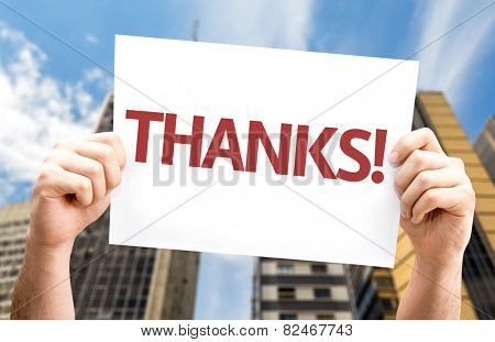 Thanks! card with a urban background
