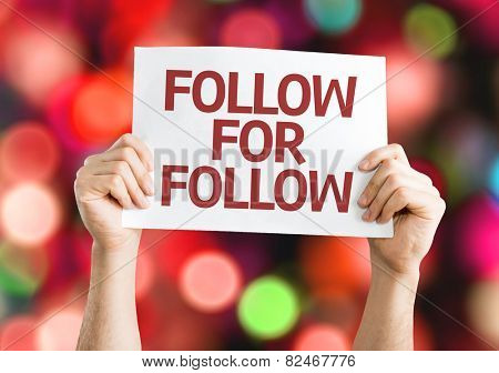 Follow for Follow card with colorful background with defocused lights