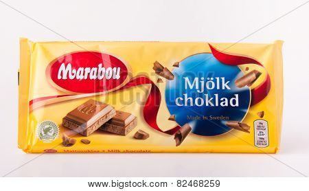 DEPEW, OK, USA - February 5th, 2015: Marabou milk chocolate bar. Marabou is a Swedish chocolate brand, first launched in 1919 by Norwegian chocolatier Johan Throne Holst.