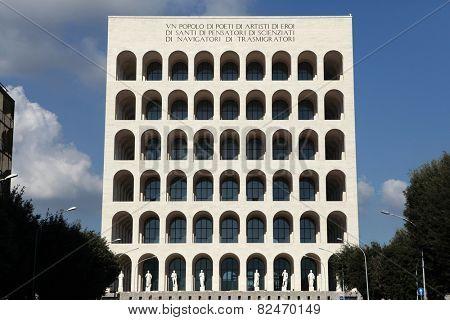 ROME, ITALY - OCTOBER 19, 2014: Palazzo della Civilta Italiana also known as the Square Colosseum in the EUR District in Rome, Lazio, Italy.