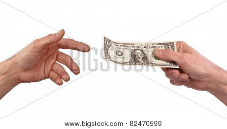 Paying money. Giving one dollar bill to another person.