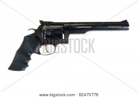 Hayward, CA - February 3, 2015: Dan Wesson revolver in .375 Super Magnum with a Pachmeyer rubber grip -illustrative editorial