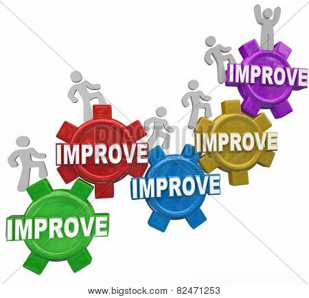 Improved word on gears with people, customers, workers or men walking up to illustrate improvement, better results and increased performance outcome