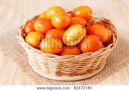 Fruit Jocote ( Sineguela,  Siriguela, Red Mombin, Mombin, Hog Plum, Ciruela Huesito) In Whicker Bask