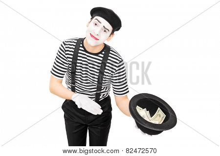 Mime artist collecting money in a hat isolated on white background