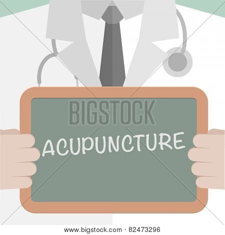 minimalistic illustration of a doctor holding a blackboard with Acupuncture text, eps10 vector