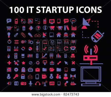 information technology start up icons, signs, illustrations set, vector