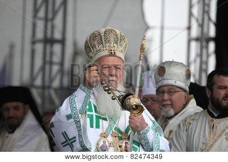 MIKULCICE, CZECH REPUBLIC - MAY 25, 2013: Patriarch Bartholomew I of Constantinople attends an orthodox service in honour of Saints Cyril and Methodius in Mikulcice, Czech Republic.