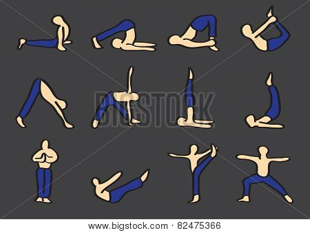 Hatha Yoga Poses Cartoon Vector Icon Set