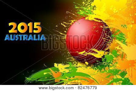 illustration of cricket ball in grungy abstract background