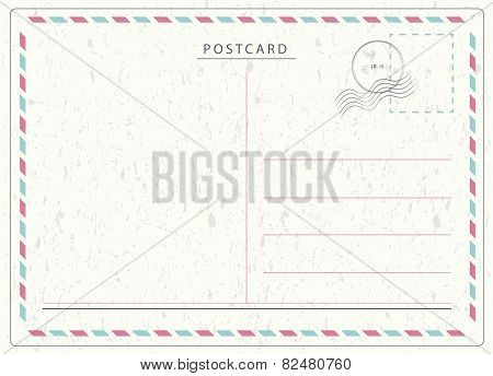 Travel postcard vector in air mail style with paper texture and rubber stamps poster