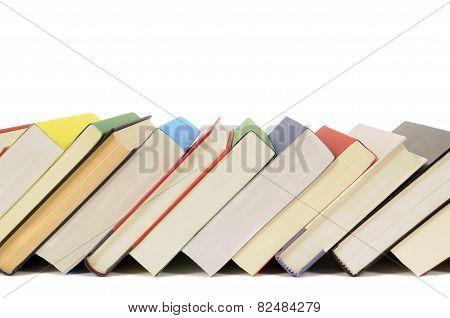 Slanted Row Of Colorful Books
