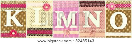 Wooden letters K L M N O on polka dots background