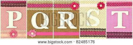 Wooden letters P Q R S T on polka dots background