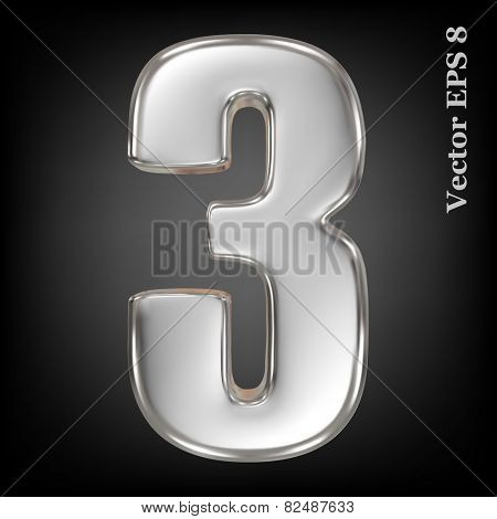 Vector 3d metal number collection - 3. Eps 8 using mesh.