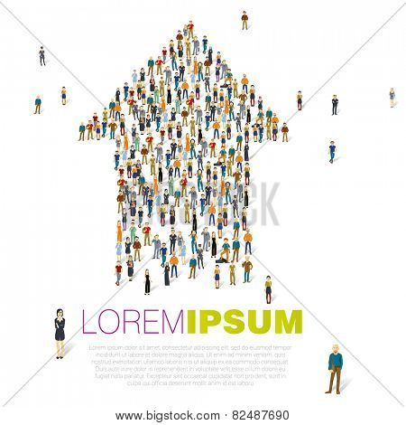 Crowded people vector arrow symbol.