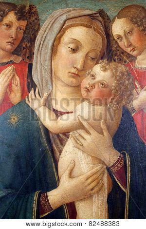 ZAGREB, CROATIA - DECEMBER 12: COSINE ROSSELLA: Madonna with Child and two angels exhibited at the Great Masters renesnse in Croatia, opened December 12, 2011. in Zagreb, Croatia