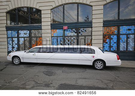 Bridal limousine in DUMBO neighborhood in Brooklyn.
