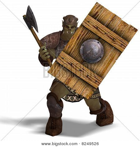 Male Fantasy Orc Barbarian with Giant Axe