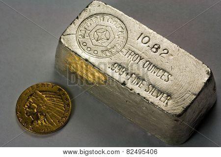 Old Silver Bullion Bar and Gold Coin