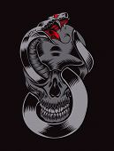 It is an illustration of skull with cobra. poster